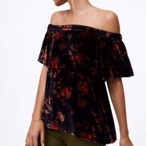 LOFT Fall Floral Velvet Off the Shoulder Top